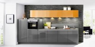 Kuchyně NOLTE Lux 364/36G Orange vysoký lesk/Šedý křemen vysoký
