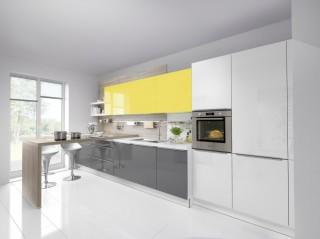 Kuchyně NOLTE Lux 361/36G/363 Bílá vysoký lesk/Šedý křemen v.l./ Lemon v.l.