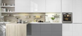 Kuchyně NOLTE Lux 361/36G Bílá vysoký lesk/Šedý křemen vysoký lesk