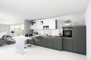 Kuchyně NOLTE Glas Tec Satin 17W/17Q Bílá/Šedý křemen